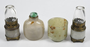 Four Jadeite and Agate Chinese Objects
