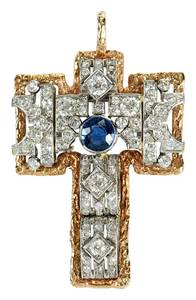 Platinum, 14kt. Cross Pendant