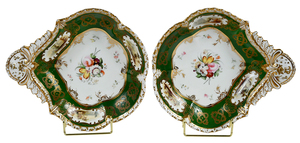 Pair British Porcelain Shell Dishes