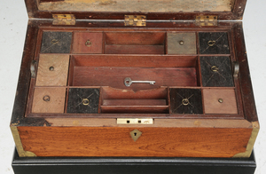 Regency Brass Inlaid Mahogany Lap Desk on Stand