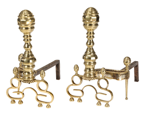 Pair of American Empire Brass Andirons