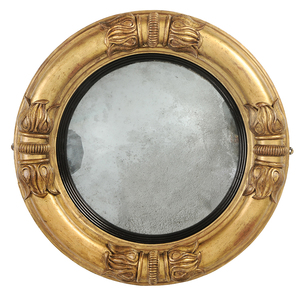 Classical Parcel-Gilt, Ebonized Convex Mirror