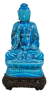 Turquoise Glazed Buddha on Stand
