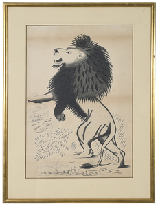 Calligraphy Drawing of a Standing Lion