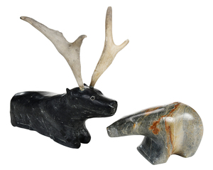 Two Inuit Carved Animal  Sculptures