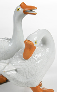 Pair of Chinese Export Porcelain Geese