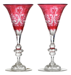Pair Brilliant Period Cut Glass Stems