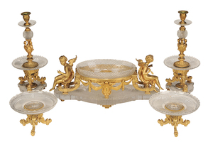 French Ormolu and Cut Glass Five Piece Garniture