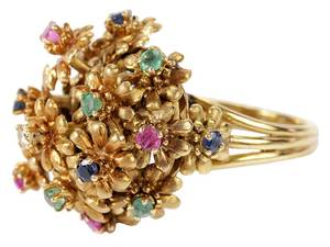 18kt. Gemstone Flower Ring