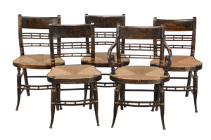 Set of Five Sheraton Classical Dining Chairs