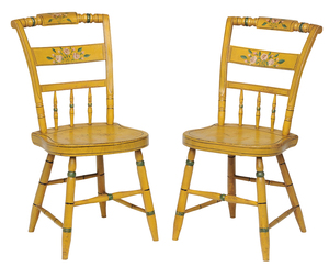 Pair of Yellow Painted Side Chairs