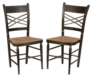 Pair of Painted and Stenciled Side Chairs