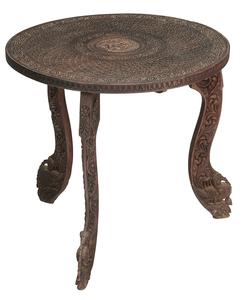 Indian Carved Hardwood Circular Low Table