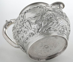 Kirk Coin Silver Repousse Water Pitcher