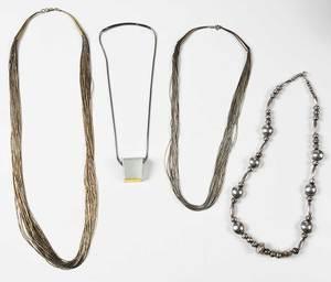 Four Silver Necklaces