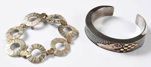Two Sterling and 14kt. Bracelets