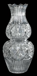 J Bergen Brilliant Period Cut Glass Two-Part Vase