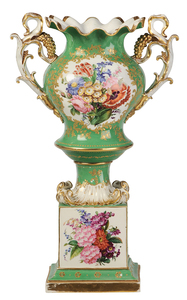 Old Paris Porcelain Floral Decorated Urn
