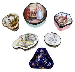 Six Decorated Enamel Patch or Snuff Boxes