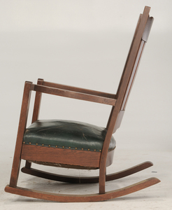 Arts and Crafts Oak and Leather Rocking Chair