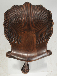 Venetian Baroque-Style Carved Walnut Harp Chair