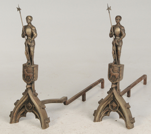 Large Pair of Gothic-Style Bronze Andirons