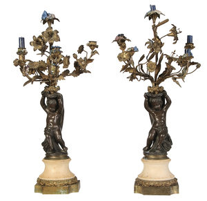 Pair of Louis XV Style Bronze Putti Candelabra
