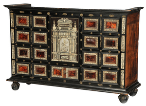 Italian Baroque Ebonized Collector's Cabinet