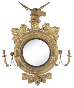 Large Classical Gilt Wood Girandole Mirror