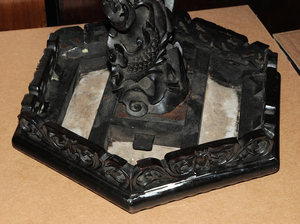 Chinese Carved Pedestal with Marble Inset
