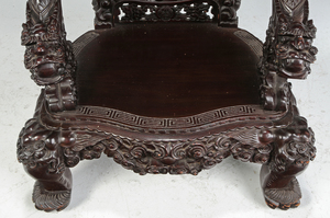 Large Chinese Carved Dragon-Figural Arm Chair