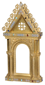 Gilt Bronze and Enameled Altar Niche