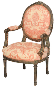 Louis XVI-Style Fortuny Upholstered Arm Chair