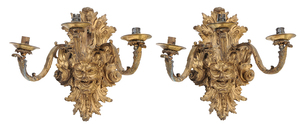 Pair of Gilt Bronze Mask Form Wall Sconces