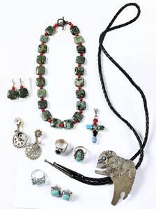 Nine Pieces Silver & Gemstone Jewelry