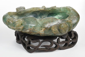 Carved Green Stone Bowl with Stand