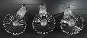 Three Brilliant Period Cut Glass Candlesticks