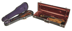 Two Vintage Violins with Bows and Cases