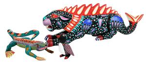 Three Oaxaca Carved Painted Wood Animals