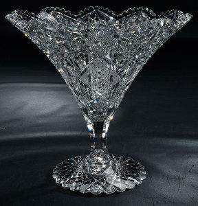 Brilliant Period Cut Glass Footed Tazza Compote
