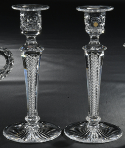 Brilliant Cut Glass Candlesticks, Creamer/Sugar