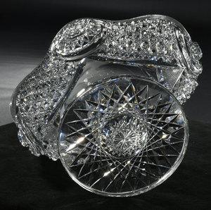 Brilliant Period Cut Glass Pedestal Orange Bowl