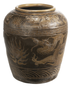 Monumental Chinese Stoneware Dragon Planter