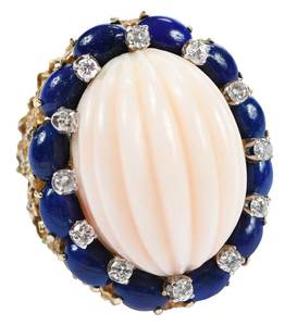 14kt. Coral, Lapis & Diamond Ring