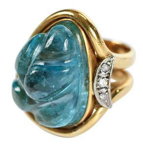 18kt. Blue Topaz & Diamond Ring