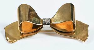 Retro 14kt. Bow Brooch