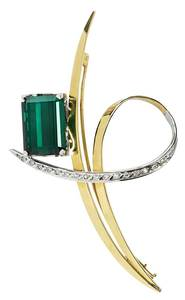 18kt. Tourmaline & Diamond Brooch