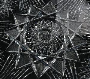 J. Hoare Brilliant Period Cut Glass Tray, Plates