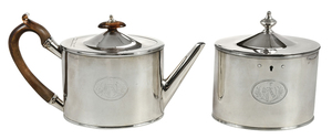 Matching English Silver Teapot and Tea Box
