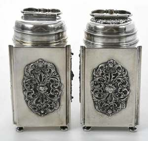 Pair of German Silver Canisters
